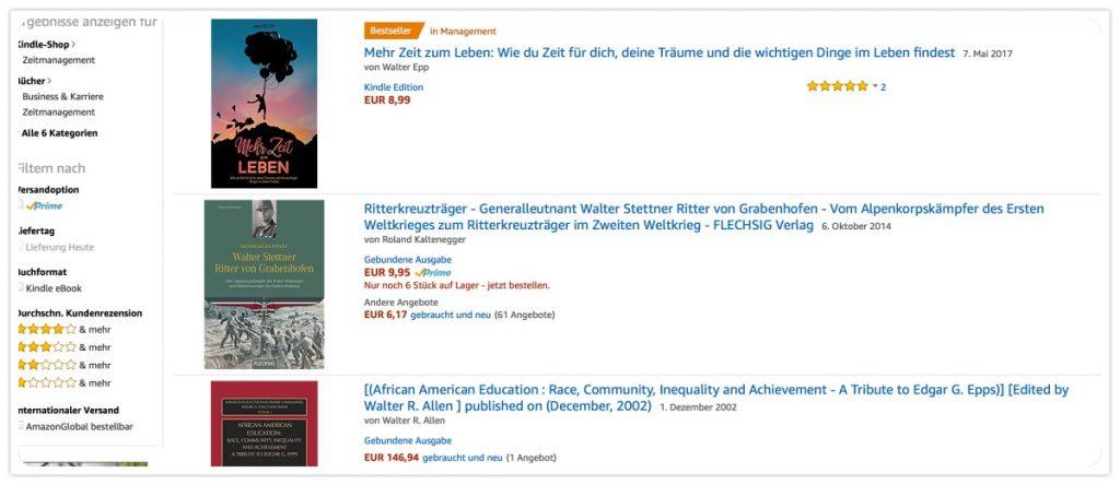 Mehr Zeit zum Leben von Walter Epp - Bestseller auf Amazon